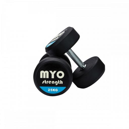 MYO 22.5kg Rubber Solid End Dumbbell Pair