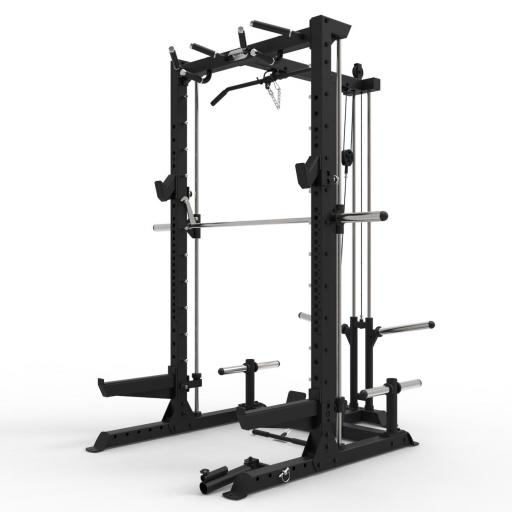 Primal Strength Commercial Half Rack with Smith And Lat Pull Down Low Row